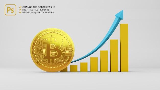 Bitcoin accanto a un grafico a barre in crescita nel rendering 3d