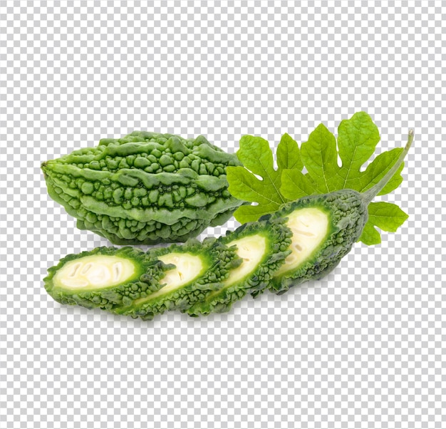 Zucca amara con foglie isolate psd premium
