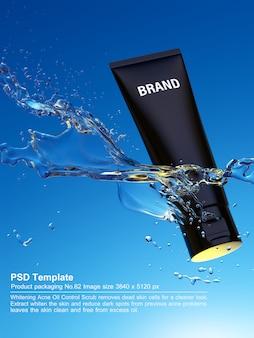 Il prodotto di bellezza nero in acqua blu fondo 3d rende