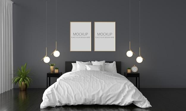 Camera da letto nera con mockup di cornici
