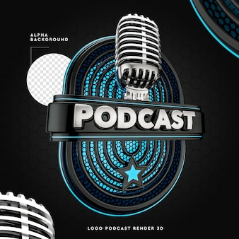 Rendering podcast logo 3d nero e blu