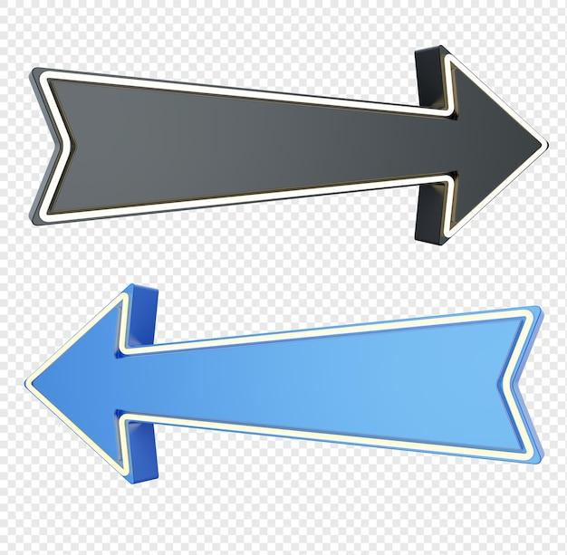 Freccia moderna nera e blu con lampada isolata