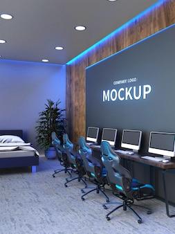 Mockup di lavagna nera in ufficio