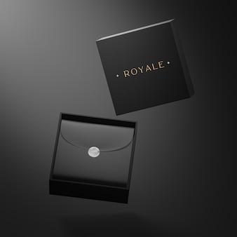 Mockup di porta biglietti da visita nero per rendering 3d di identità di marca