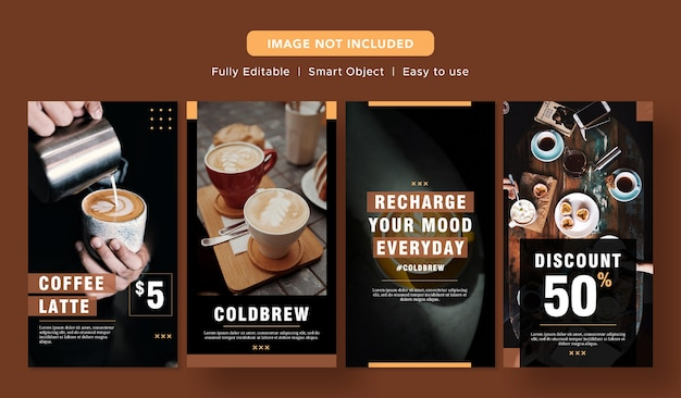 Black coffee latte sconto speciale banner social media promo design instagram post template
