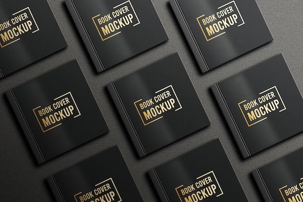 Modello di copertina del libro quadrato di colore nero