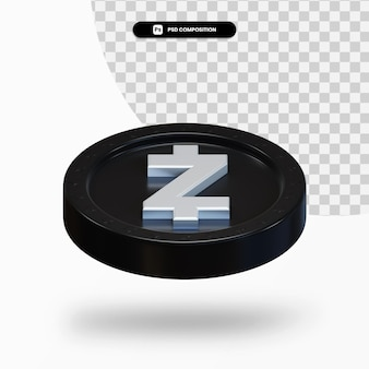 Moneta di criptovaluta nera 3d rendering isolato