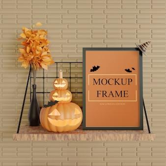 Mockup cornice nera edizione halloween in piedi sul tavolo a muro