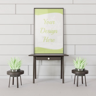 Mockup cornice nera in piedi sul mini tavolo con coppia di piante grasse