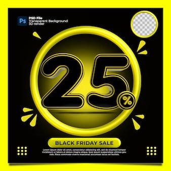 Venerdì nero 25 percentuale di sconto vendita 3d render con colore giallo