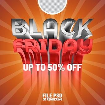 Banner di rendering 3d del black friday