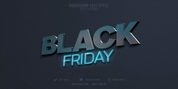 Effetto stile testo 3d venerdì nero psd premium