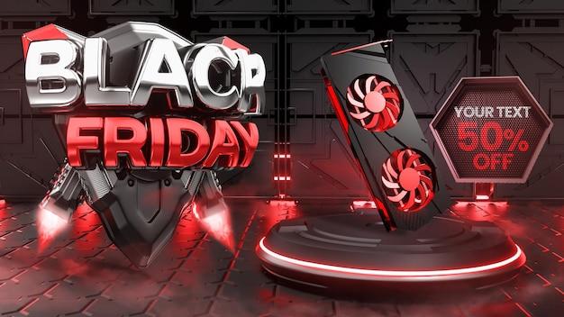 Black friday 3d con timbro podio per la vendita dei prodotti in uno scenario futuristico testo modificabile