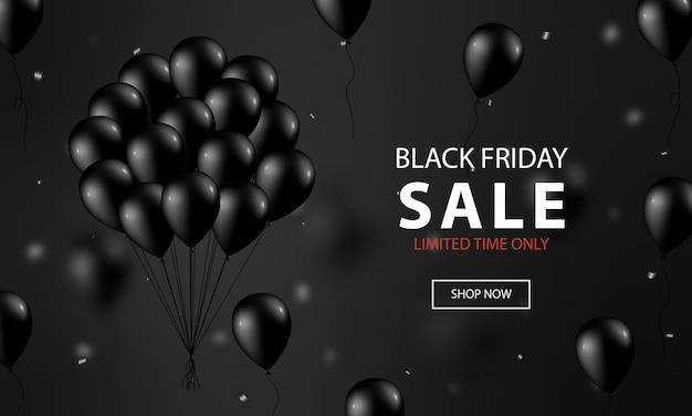 Mockup di banner venerdì nero con palloncini neri realistici