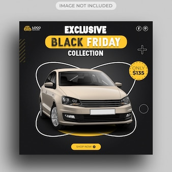 Modello di post sui social media per la vendita di auto del black friday