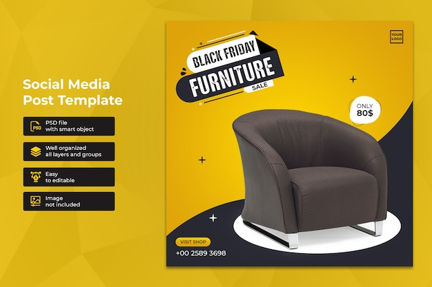 Black friday vendita di mobili esclusivi social media instagram post template design