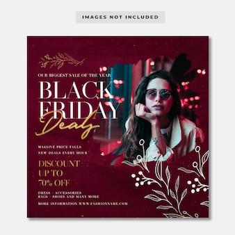 Modello di post di instagram di offerte di moda venerdì nero