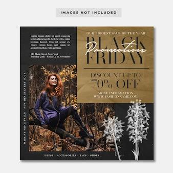 Modello di instagram dei social media di promozione della moda del black friday