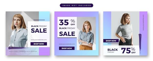 Modello di social media banner moderno di vendita di moda di black friday