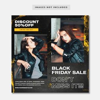 Modello di instagram di social media di promozione della vendita di moda di black friday