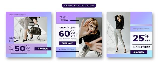 Modello di social media banner semplice vendita di moda venerdì nero