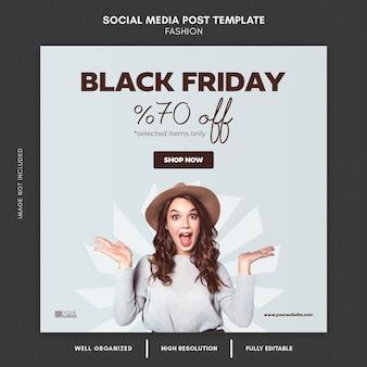 Modello di post sui social media di moda black friday