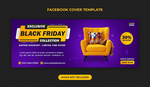 Modello di copertina facebook di vendita di mobili venerdì nero