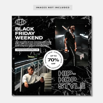 Modello di instagram di social media moda hip-hop venerdì nero