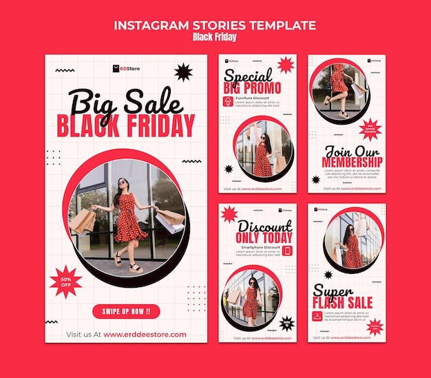 Set di storie di instagram del black friday