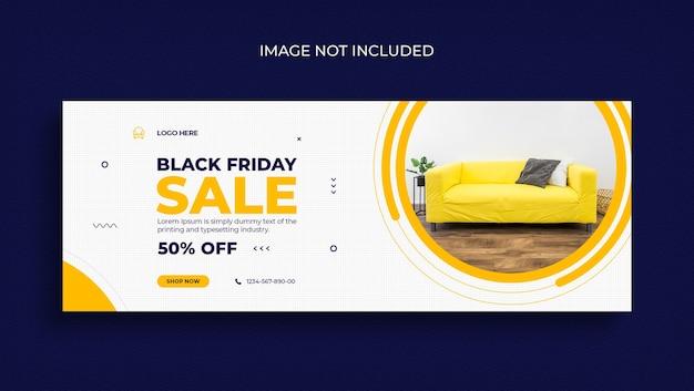 Social media promozionali per mega vendita del black friday, copertina di facebook e modello di banner web