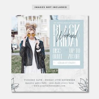 Modello di instagram di social media moda minimalista del black friday