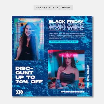 Modello di instagram di social media di moda al neon di black friday