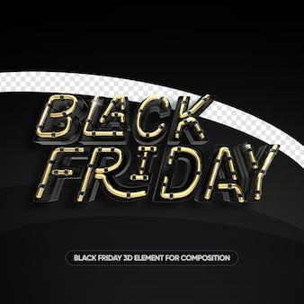 Black friday neon stile oro 3d rendering isolato