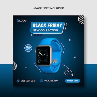 Black friday new watch promozione post sui social media e modello di banner web