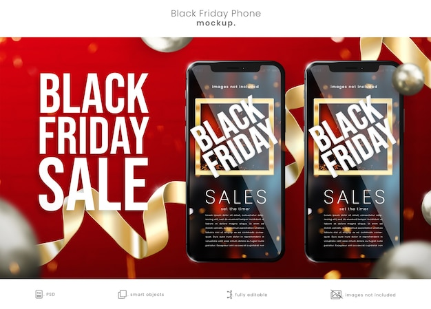 Mockup di telefono del black friday per le vendite del black friday
