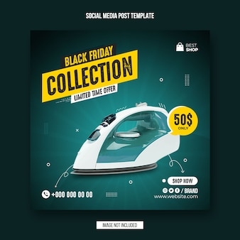 Modello di post sui social media per la raccolta di prodotti del black friday