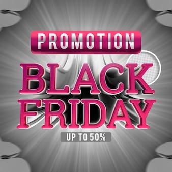 Promozione black friday fino a 50 banner di rendering 3d