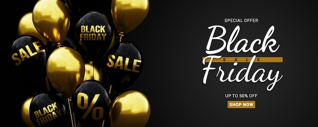Modello della bandiera di vendita del black friday con palloncino 3d con testo di vendita