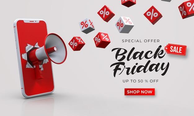 Modello della bandiera di vendita venerdì nero con megafono 3d dallo smartphone e cubi con percentuale