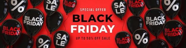 Modello di banner di vendita venerdì nero con palloncini neri lucidi