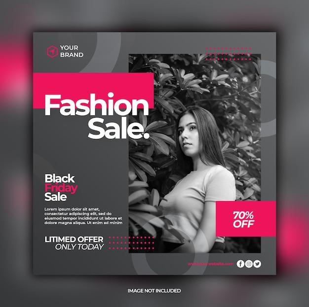 Modello di banner instagram elegante dinamico di vendita venerdì nero