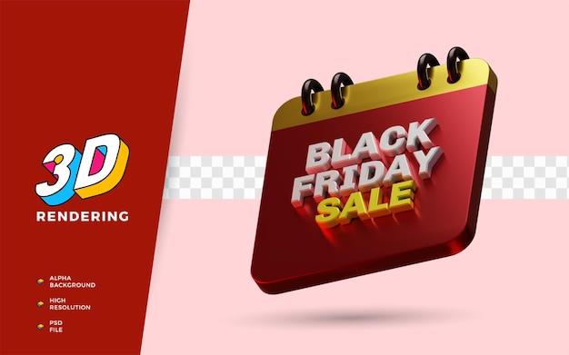 Venerdì nero vendita evento shopping giorno sconto vendita flash festival 3d render oggetto illustrazione