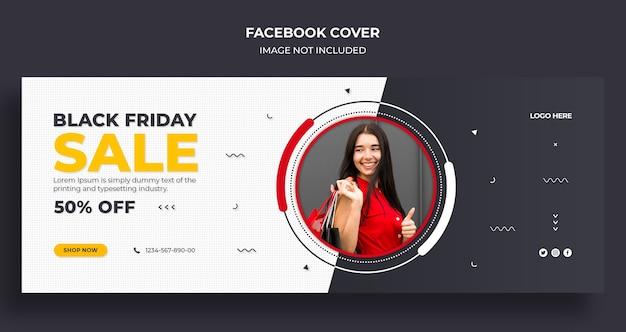 Copertina della timeline di facebook di vendita del black friday e modello di banner web
