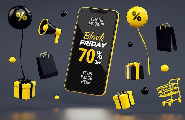 Volantino di vendita del black friday con mockup di telefono galleggiante e roba gialla su sfondo scuro
