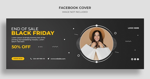 Copertina dei social media di vendita del black friday e modello di banner web