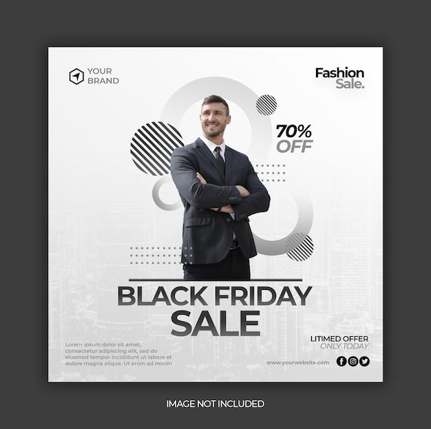 Modello di post banner instagram di social media di vendita venerdì nero o volantino quadrato