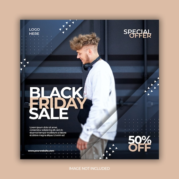Modello di post sui social media in vendita venerdì nero o volantino quadrato
