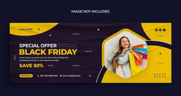 Volantino per banner web per social media in vendita venerdì nero e modello di design per foto di copertina di facebook Psd Premium