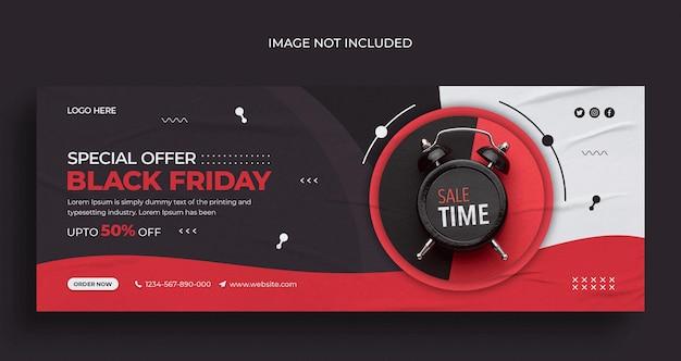 Volantino per banner web per social media in vendita venerdì nero e modello di design per foto di copertina di facebook