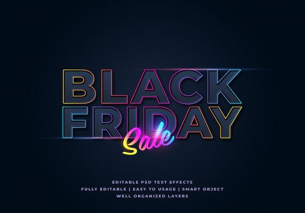 Mockup di effetto testo stile di vendita venerdì nero